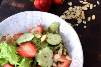 Strawberry, Cucumber, and Leafy Greens Salad Balsamic Yogurt Dressing Fete-a-Tete 1