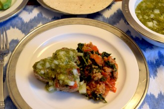 Poblano Pepper Meatballs with Roasted Tomatillo Salsa Served over a Kale – Quinoa Salad Fete-a-Tete