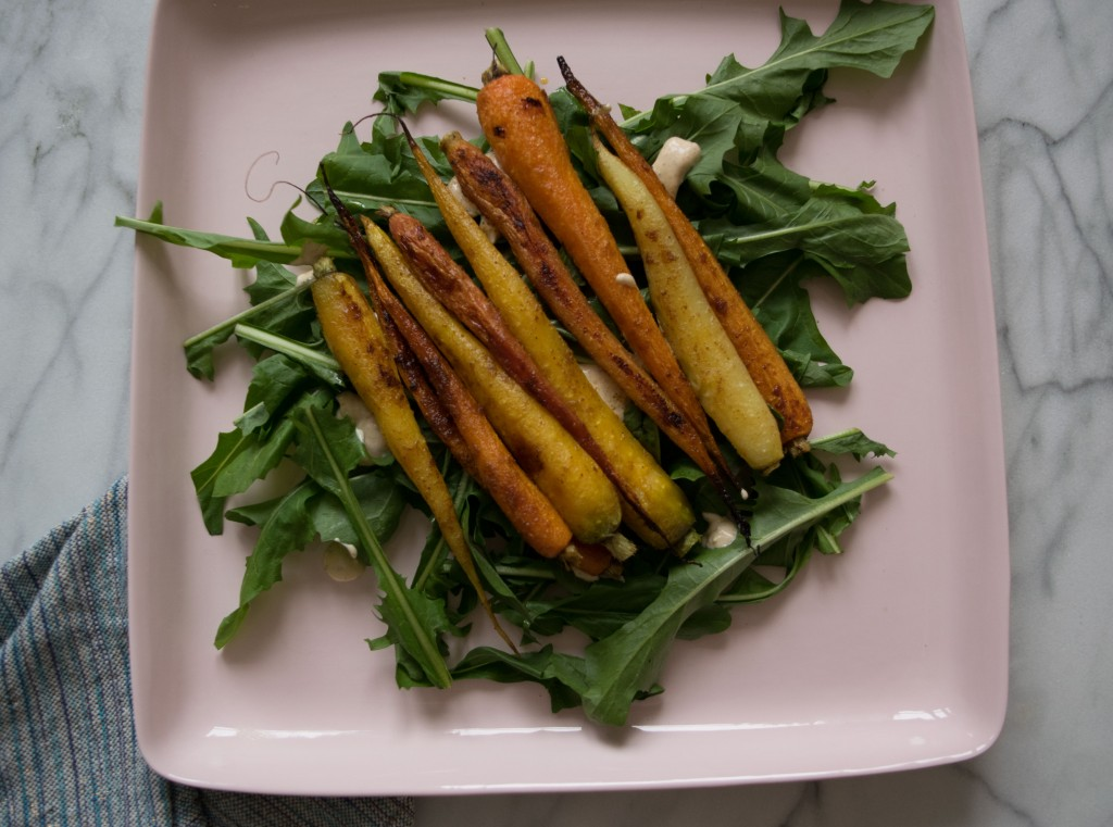 Sweetly Spiced Roasted Carrots over Greens Fete-a-Tete 1