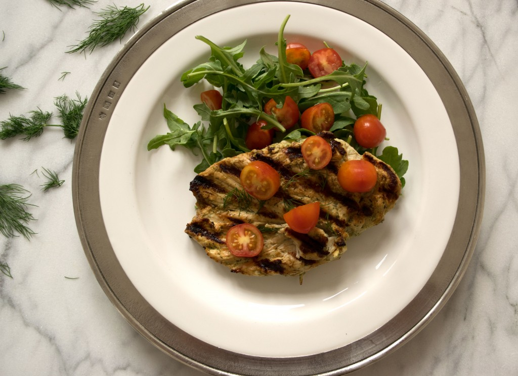 Lemon Dill Grilled Chicken with Cherry Tomato and Arugula Salad Fete-a-Tete