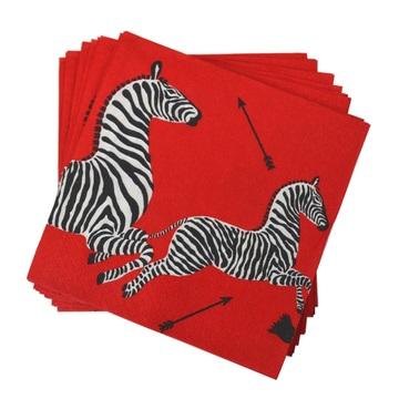 Scalamandre Zebra Red Cocktail Napkins Fete-a-Tete