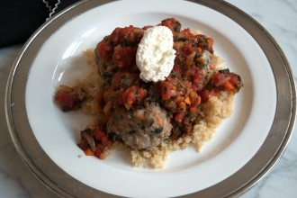 Chicken Kale Meatballs over Quinoa Fete-a-Tete