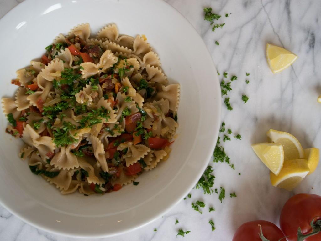 Ramp, Pepperoni, and Spring Veggie Pasta Fete-a-Tete 1