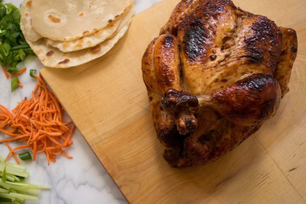 Soy-Chili Glazed Whole Roasted Chicken with Homemade Pancakes Fete-a-Tete