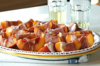 Peaches Wrapped in Serrano Fete-a-Tete