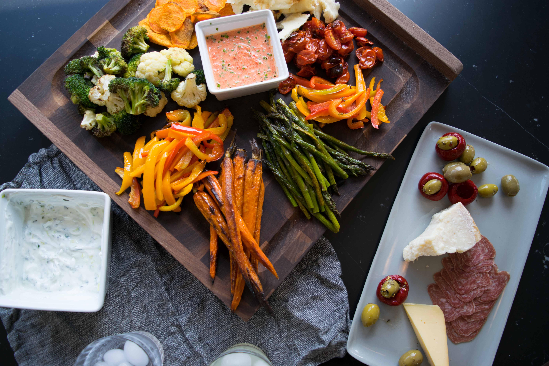 Roasted vegetable platter with cool yogurt sauces witten for Mandolin mediterranean kitchen