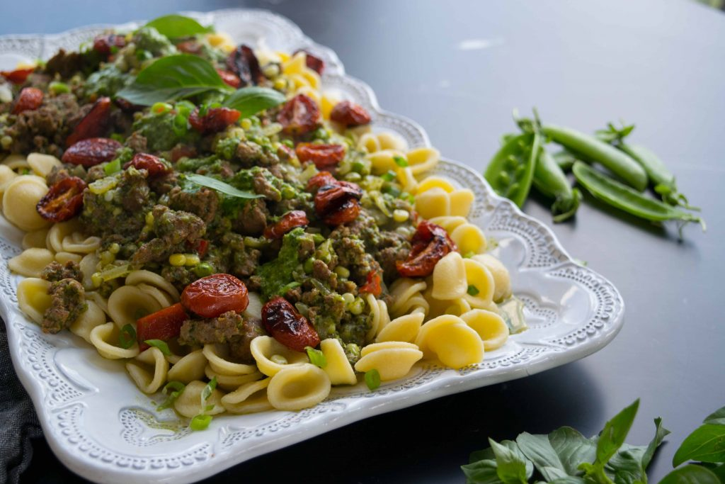 Kale-and-Corn-Pesto-Pastas-with-Sausage